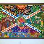 Original Huichol arm painting in the dining room.
