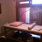 Esther Novoa's clean, quiet massage room.